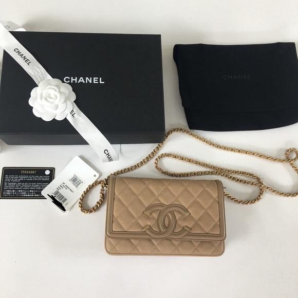 93d8da93d547 CHANEL Bags | Beige Caviar Filigree Wallet On Chain | Poshmark